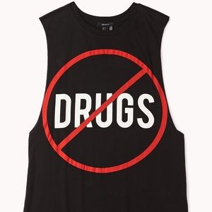 """Forever 21 """"No Drugs"""" Black Sleeveless Tank"""